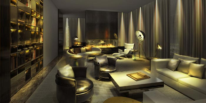 3D Rendered lounge in low light