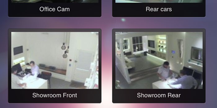 Screenshot of lighting control application, showing multiple cameras around an office